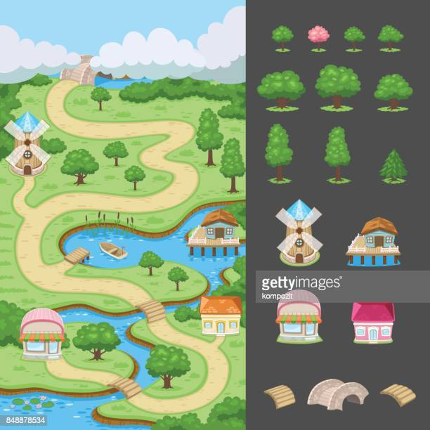 countryside - map for the games - footpath stock illustrations