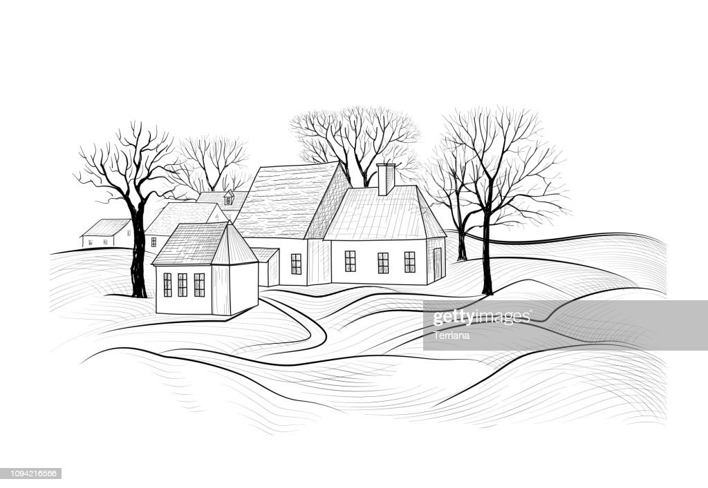 Countryside rural landscape with village house. Sketch of countryhouse building with fields. Farm land skyline