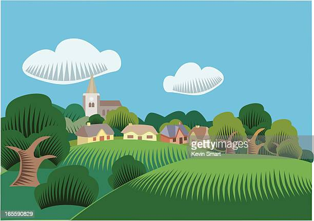 illustrations, cliparts, dessins animés et icônes de scène de la campagne - village