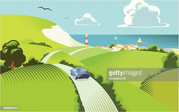 countryside scene - dover england stock illustrations