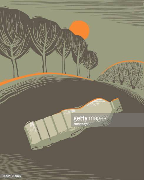 countryside scene with litter - environmental issues stock illustrations