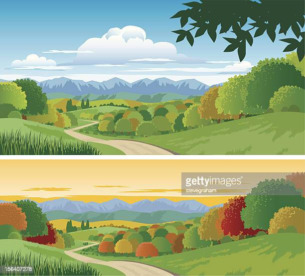 countryside - rolling landscape stock illustrations