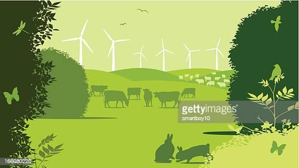 ilustrações, clipart, desenhos animados e ícones de rural turbina eólica de fazenda - produto local