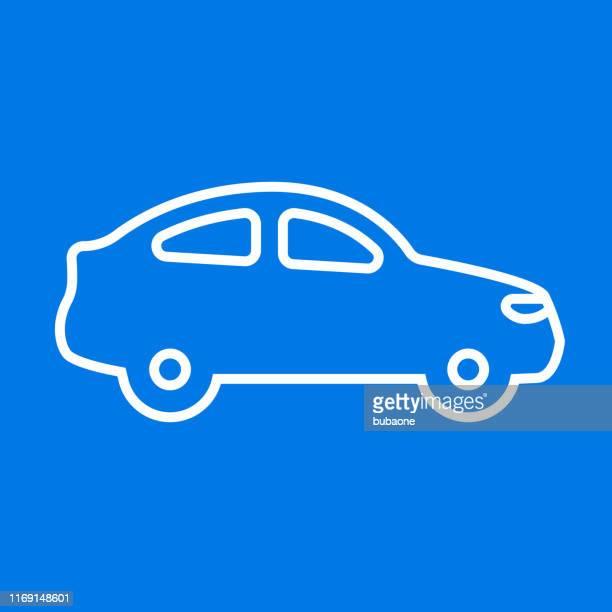 ilustraciones, imágenes clip art, dibujos animados e iconos de stock de icono de la vista lateral del coche coupé - alquiler de coche