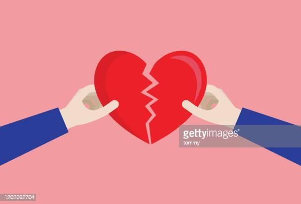 couple a broken heart - broken heart stock illustrations