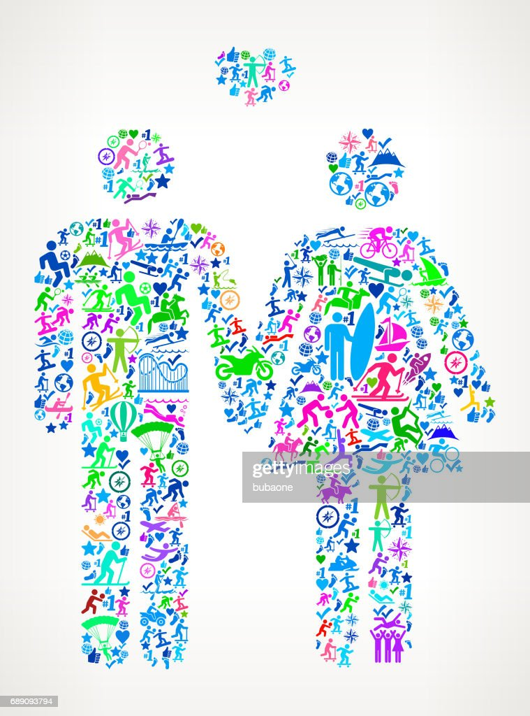 Couple Active Lifestyle Vector Icon Pattern : Stock Illustration