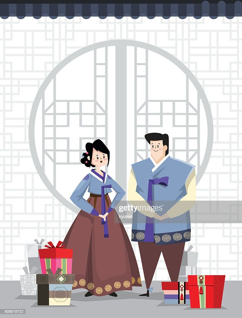 Couple and Korean traditional village