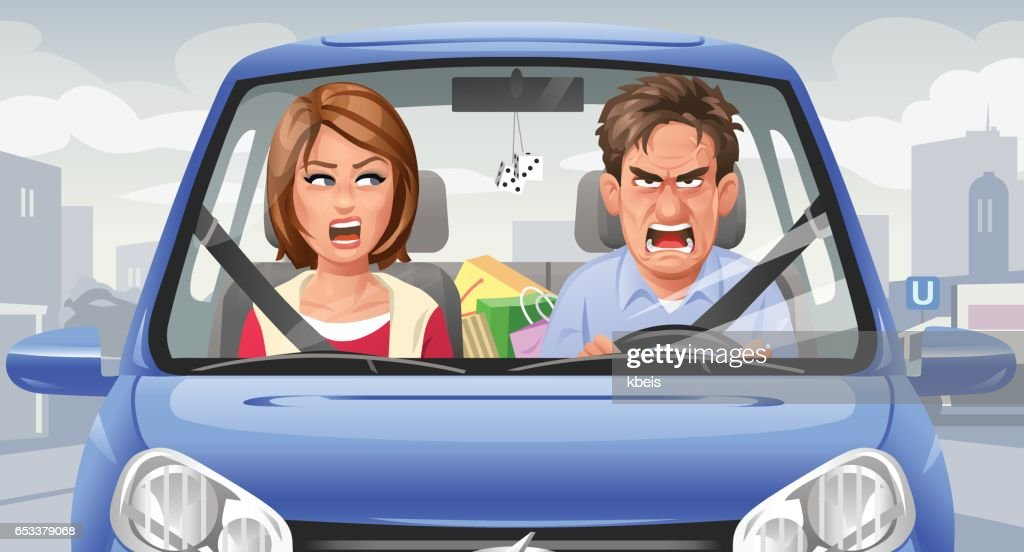 Couple Arguing In A Car : stock illustration