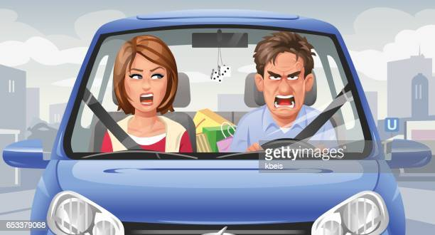 couple arguing in a car - anger stock illustrations