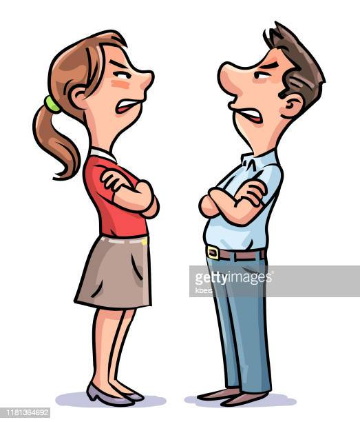 couple arguing - husband wife stock illustrations