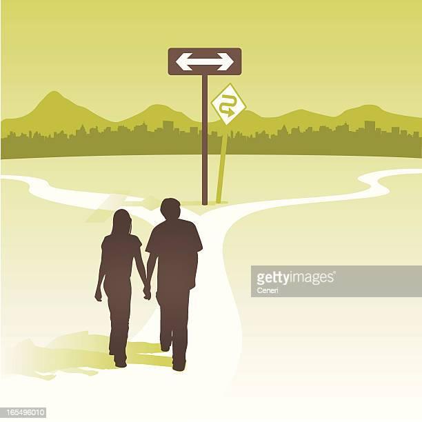ilustrações, clipart, desenhos animados e ícones de casal no cross roads - encruzilhada