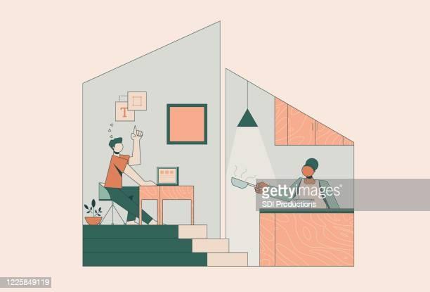 コロナウイルスパンデミック中に自宅でカップル - 白人点のイラスト素材/クリップアート素材/マンガ素材/アイコン素材