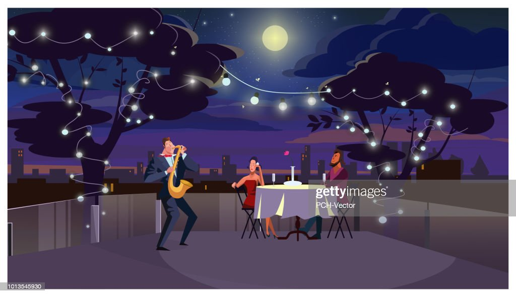 Couple at romantic dinner outdoors illustration