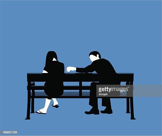 paar bench blue - trösten stock-grafiken, -clipart, -cartoons und -symbole