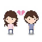 Couple Breaking up Icon, Pixel 8 bit style