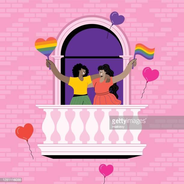 プライドを祝うカップル - lgbtqi点のイラスト素材/クリップアート素材/マンガ素材/アイコン素材