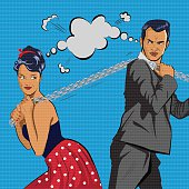 Couple competes. The man and  woman pulls  chain. Vector illustration