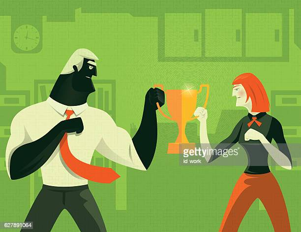 couple competing for trophy - office fight stock illustrations, clip art, cartoons, & icons
