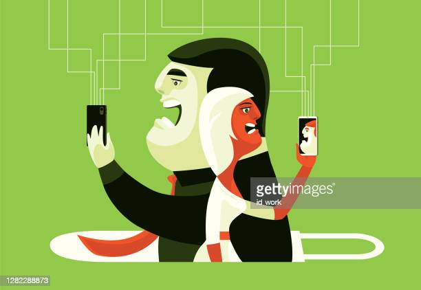 couple conflicting via smartphone with padlock - mindzoom 2 stock illustrations