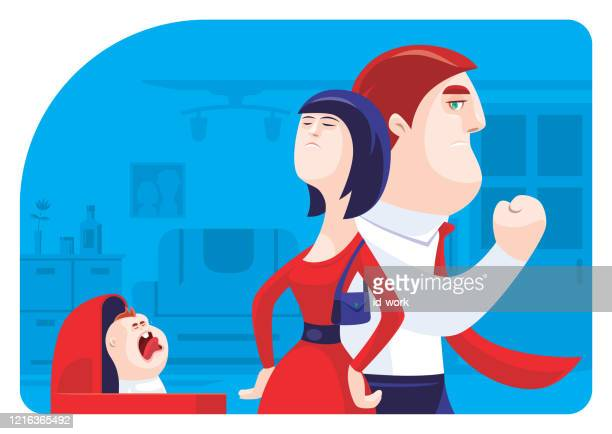 couple conflicting with crying baby - family fighting cartoon stock illustrations