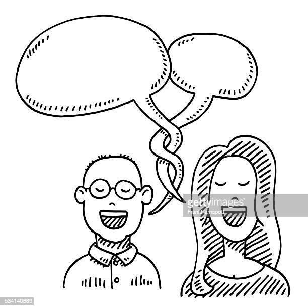 couple conversation speech bubble drawing - balding stock illustrations, clip art, cartoons, & icons