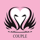 couple, couple of swan and heart icon,couple in love.