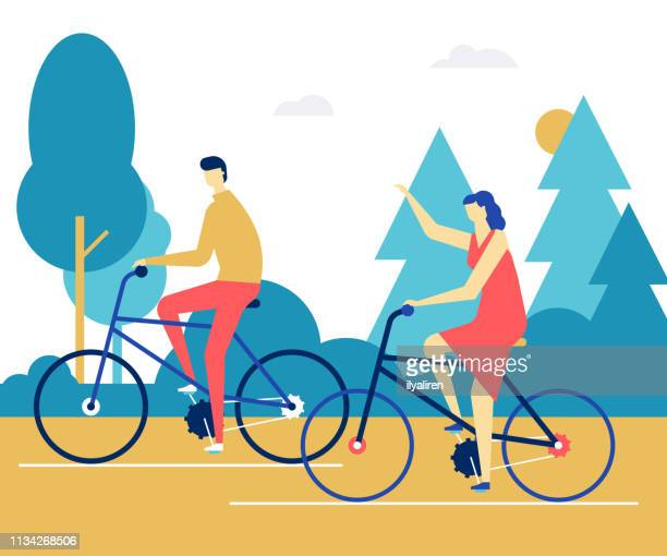 Couple cycling - flat design style colorful illustration