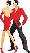 Couple dances a tango