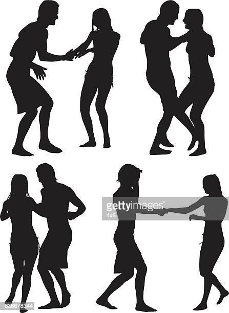 ilustraciones, imágenes clip art, dibujos animados e iconos de stock de pareja de baile en la lluvia  - pareja bailando cuerpo entero