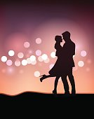 Couple Dancing Silhouette Illustration