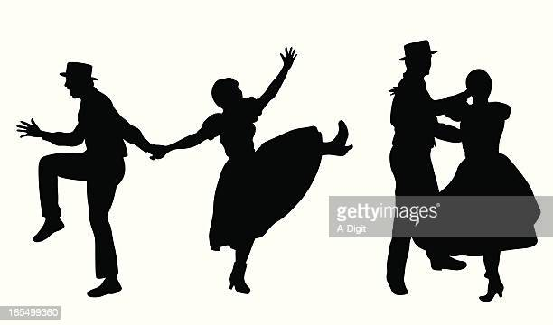 couple dancing vector silhouette - swing dancing stock illustrations