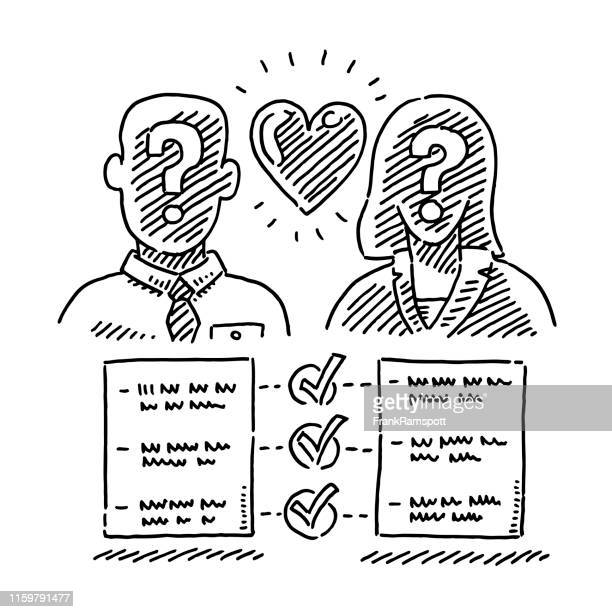 stockillustraties, clipart, cartoons en iconen met paar dating service matchmaking concept tekening - cupidon