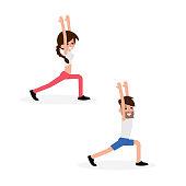 Couple doing Yoga exercise.