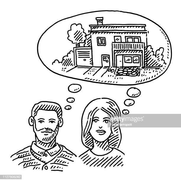 Paar träumen über ihre neue Heimat Zeichnung