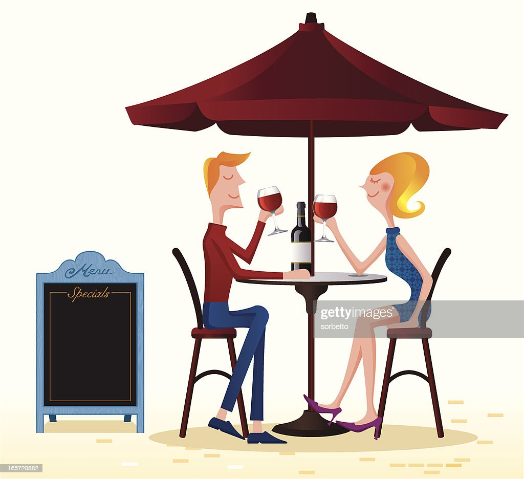 Couple drinking at the cafe