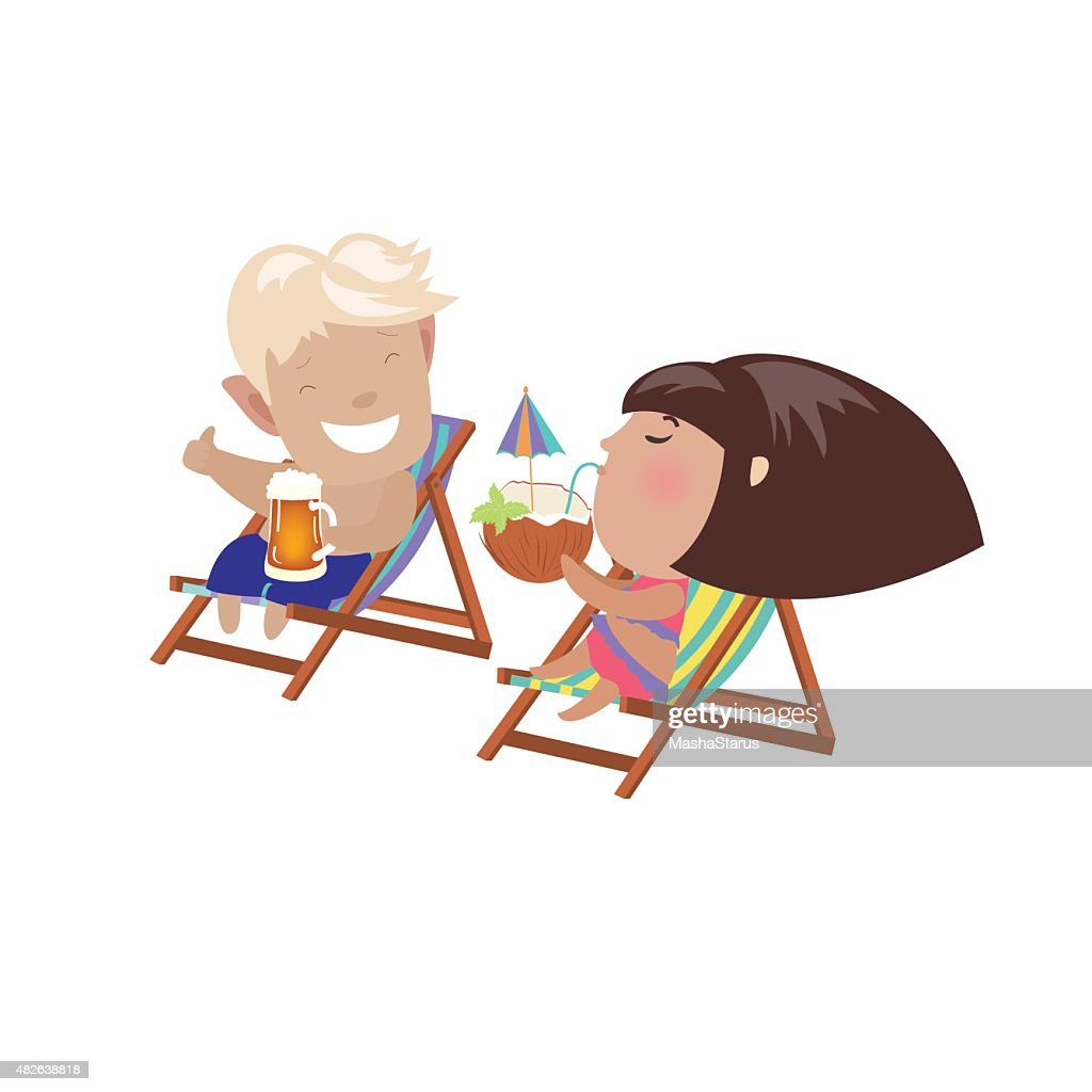 Couple drinking beverages sitting in the deck chairs