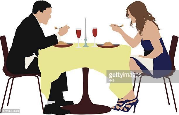 ilustraciones, imágenes clip art, dibujos animados e iconos de stock de pareja comiendo en un restaurante de comida - mesa de comedor