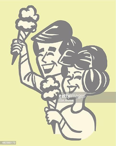 couple eating ice cream cones - eating ice cream stock illustrations, clip art, cartoons, & icons