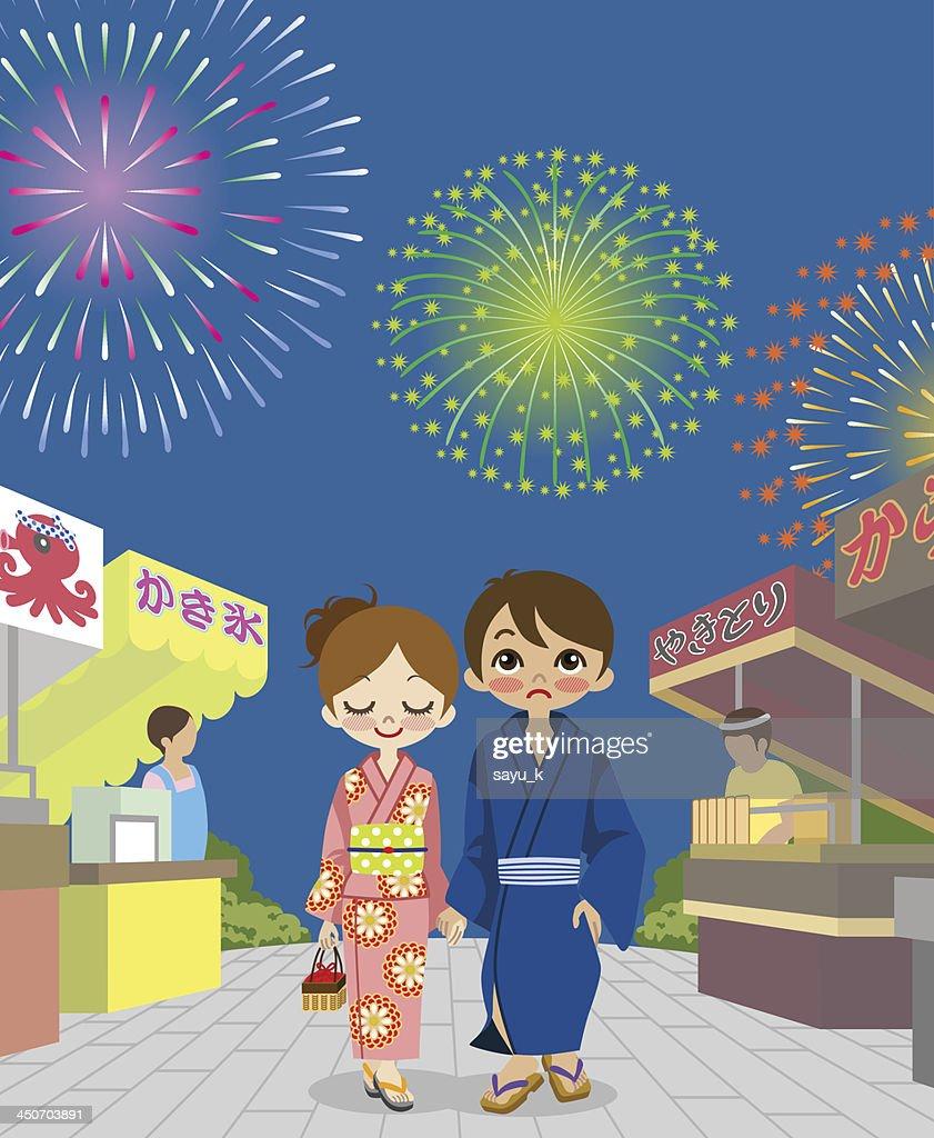 Couple enjoying Japanese Fireworks Show