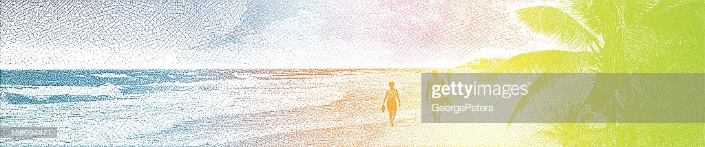 Couple Enjoying Romantic Walk On Beach : Vector Art