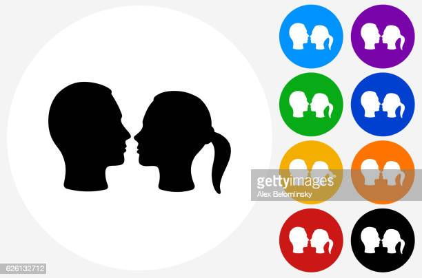 couple facing each other icon on flat color circle buttons - other stock illustrations, clip art, cartoons, & icons