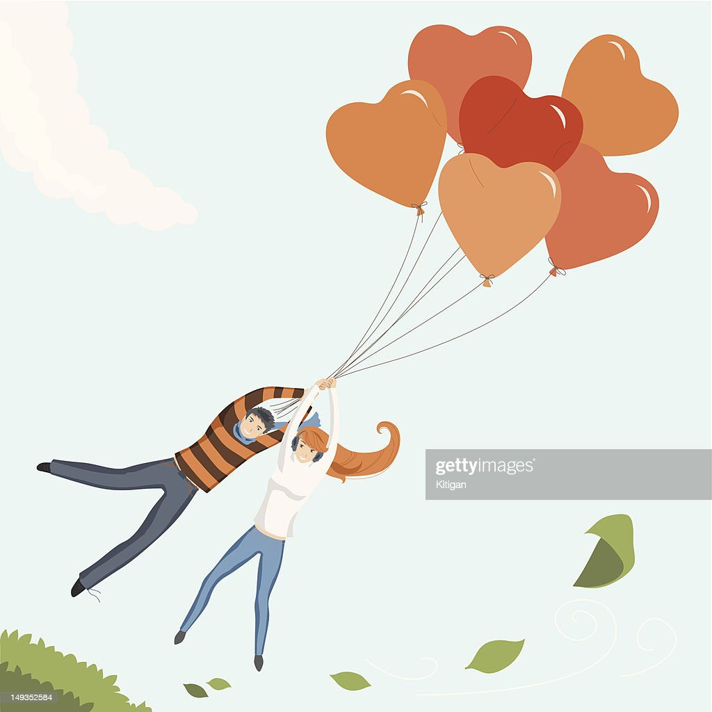 Couple Flying by Heart Balloon
