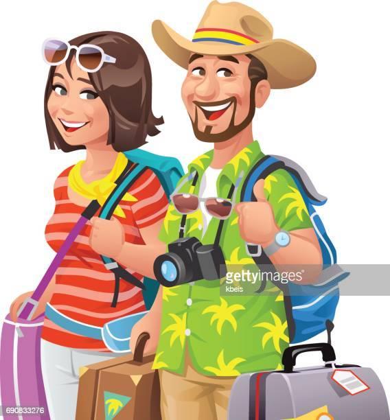 couple going on vacation - hawaiian shirt stock illustrations