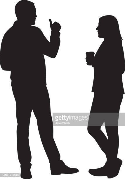 ilustraciones, imágenes clip art, dibujos animados e iconos de stock de par tener silueta de conversación - pareja