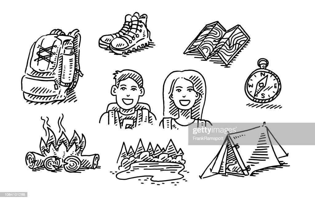 Paar Wandern Reise Urlaub Symbolsatz zeichnen : Vektorgrafik