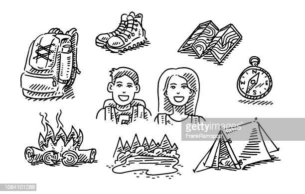 illustrations, cliparts, dessins animés et icônes de couple randonnée voyage vacances icon set de dessin - boussole