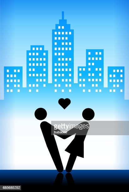 couple holding hands blue vector city background - swing dancing stock illustrations