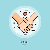 Couple holding hands, flat design thin line banner