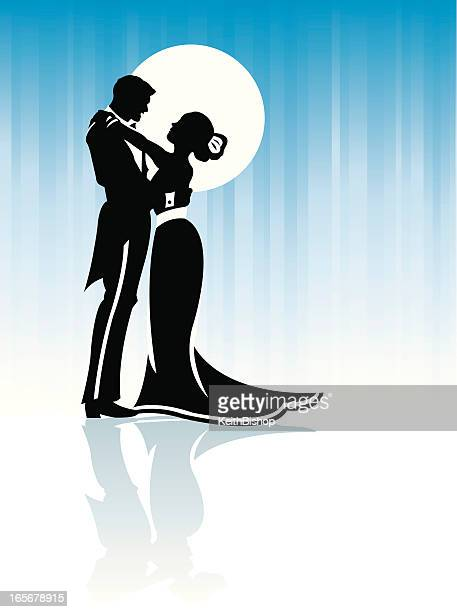 Couple Hugging or Dancing in Moonlight Background