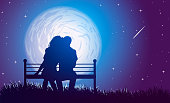 Couple hugs on a bench on background of full moon and  falling star.